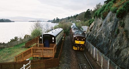 The Pullman passes the Loch Awe Holiday Coach